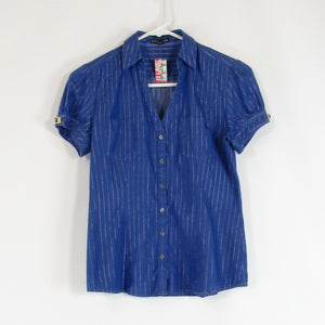 Blue silver pinstripe 100% cotton EXPRESS button down blouse XS