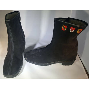 Black suede leather B.F. GOODRICH inside zip embroidered faux shearling boots 7