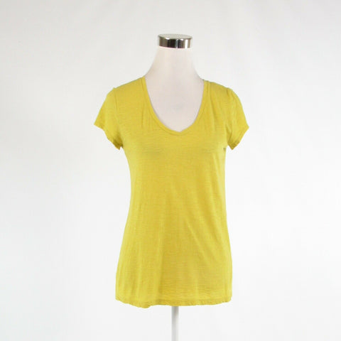 Yellow 100% cotton ANN TAYLOR Loft Sunwashed T stretch short sleeve blouse S-Newish