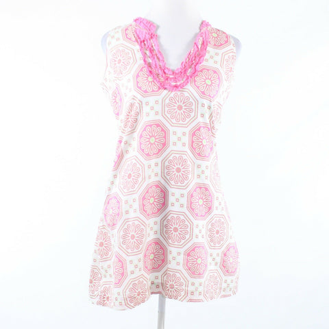 White pink geometric 100% cotton TRACY NEGOSHIAN sleeveless sun dress S