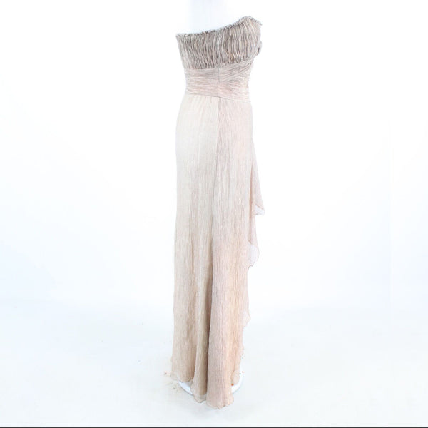 Taupe textured shimmery LINDA CUNNINGHAM strapless ball gown dress 4-Newish