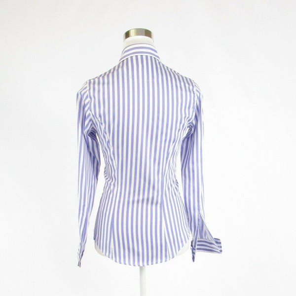 Periwinkle purple white striped 100% cotton AUSTEN BROTHERS button down blouse 6-Newish