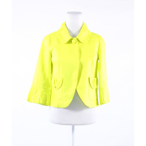 Bright green 100% linen J. CREW 3/4 sleeve jacket 0