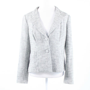 Heather gray tweed KAY UNGER long sleeve blazer jacket 12-Newish