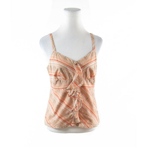 Orange peach diagonal striped 100% cotton ANN TAYLOR LOFT cami blouse 8