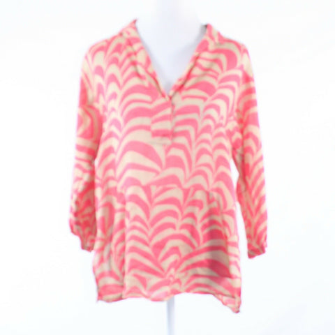 Pink beige geometric DKNY NEW YORK button chest 3/4 sleeve tunic blouse M