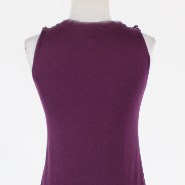 Purple cotton blend TALBOTS sleeveless floral applique ribbed trim sweater S-Newish