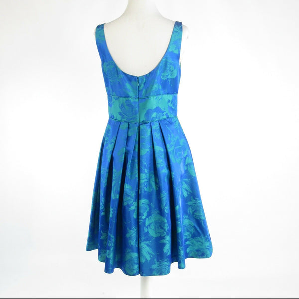 Blue floral print THEIA sleeveless A-line dress 8