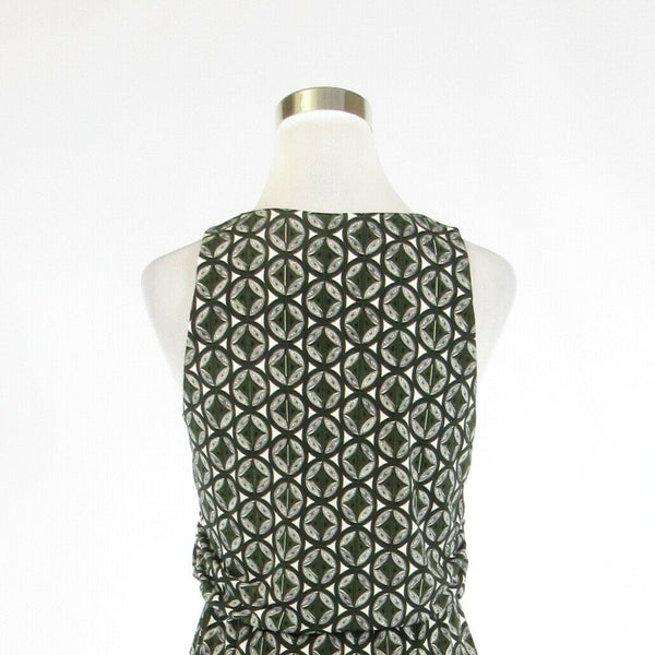 Olive green silver geometric ANN TAYLOR stretch sleeveless A-line dress S-Newish