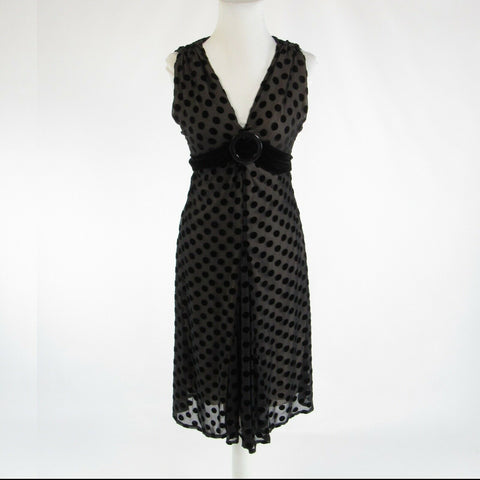 Black swiss dot EVA FRANCO sheer overlay sleeveless sheath dress 6