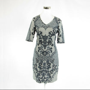 Light gray black floral print BARASCHI 1/2 sleeve sheath dress 6