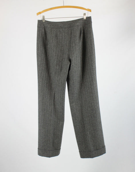 Gray white pinstripe cuffed hem ANN TAYLOR dress pants 8