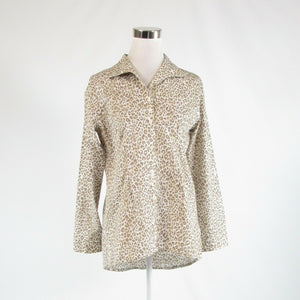 Light beige taupe cheetah 100% cotton CHICO'S button down blouse 0 XS 4