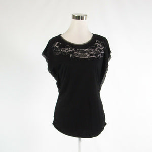 Black WHITE HOUSE BLACK MARKET beaded trim stretch cap sleeve blouse S-Newish