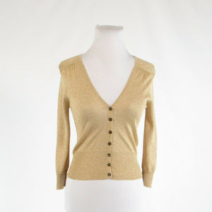 Beige gold THE LIMITED shimmery 3/4 sleeve cardigan sweater S-Newish