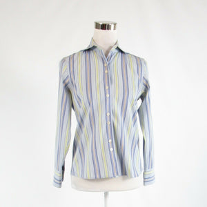 Lavender purple blue uneven striped cotton blend TALBOTS button down blouse 2P
