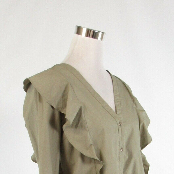 Taupe 100% cotton VILLA CLOTHES stretch long sleeve button down blouse S NWT-Newish