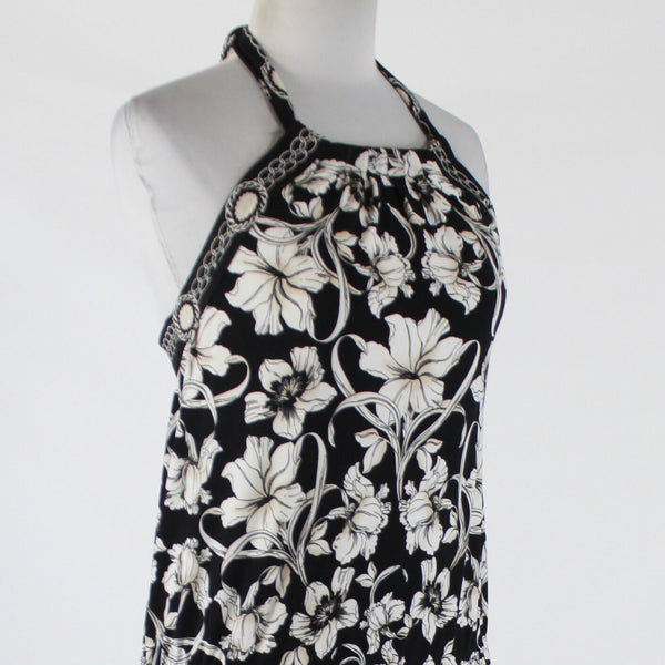 Black white and beige floral WHITE HOUSE BLACK MARKET stretch halter blouse XS