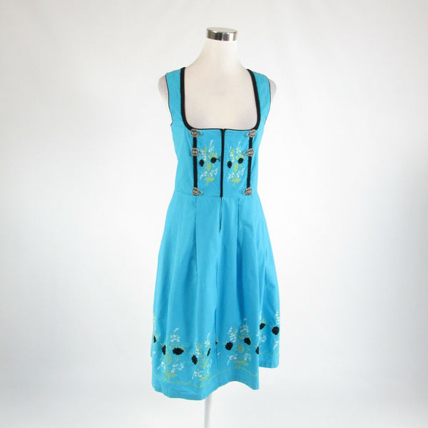 Turquoise blue black 100% cotton SKANDAL ORIGINAL sleeveless A-line dress IT38 4