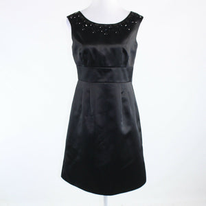 Black satin ANN TAYLOR LOFT rhinestone trim sleeveless A-line dress 8P-Newish
