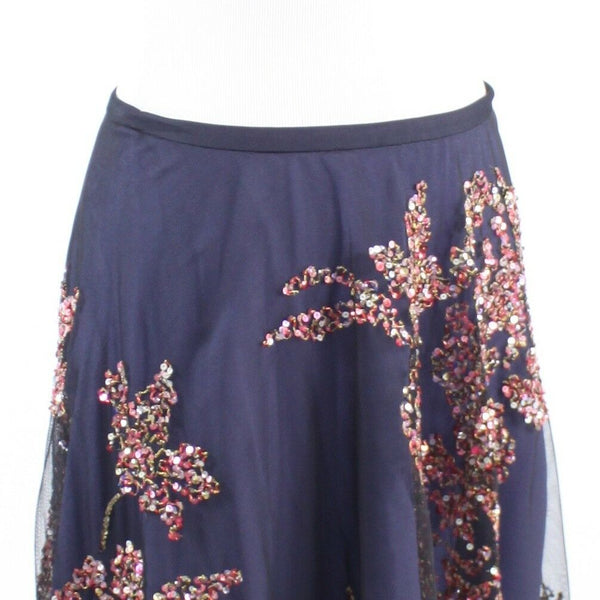Navy blue sheer overlay sequin FRENCH CONNECTION A-line skirt 4