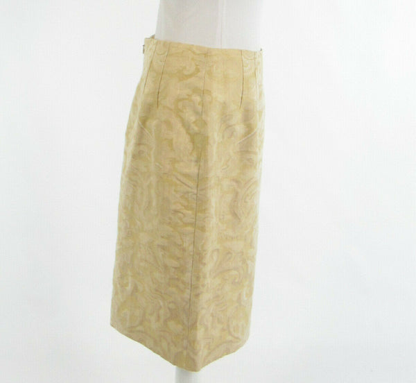 Light yellow beige abstract cotton blend QUADRILLE NEW YORK pencil skirt 12-Newish