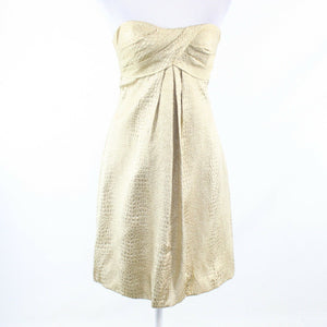 Metallic gold seersucker CACHE strapless A-line dress 2