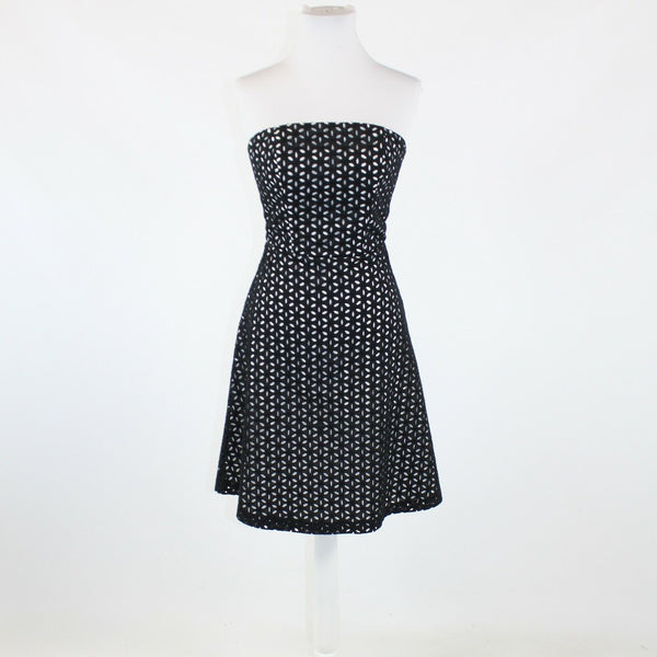 Black over white eyelet  WHITE HOUSE BLACK MARKET strapless A-line dress 0