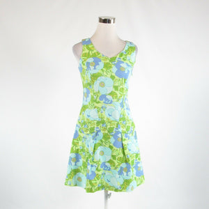 Light green blue floral print cotton blend TALBOTS sleeveless A-line dress 2P-Newish