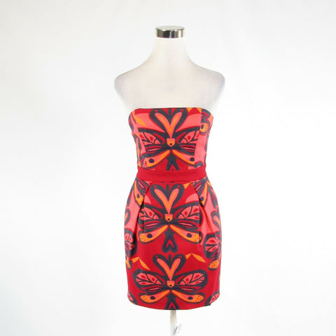 Red pink geometric cotton blend FRENCH CONNECTION stretch sleeveless sun dress 6