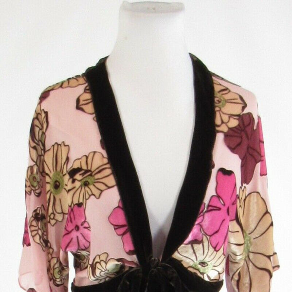 Light pink brown floral print NOTICE short kimono sleeve bolero jacket S