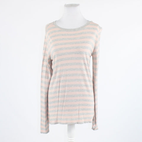 Light pink gray striped stretch GAP long sleeve blouse M