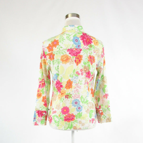 White green floral print 100% cotton IZOD 3/4 sleeve button down blouse S-Newish