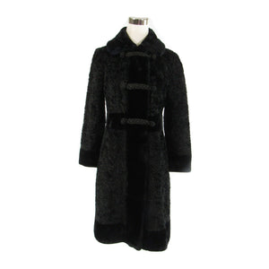 Black faux Persian lamb fur BORRE BY FAIRMOOR vintage peacoat PXS-Newish