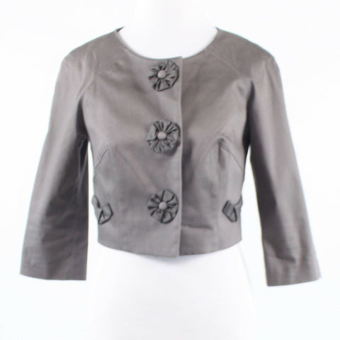 Gray cotton blend BARASCHI 3/4 sleeve bolero jacket 6-Newish
