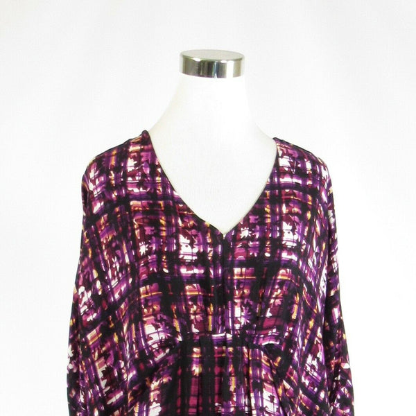 Purple black plaid ANTHROPOLOGIE MAEVE short batwing sleeve shift dress S-Newish