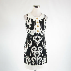 Black white ikat 100% cotton TAYLOR sleeveless sheath dress 2