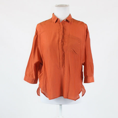 Orange button chest semi-sheer cotton blend ANN TAYLOR LOFT blouse S