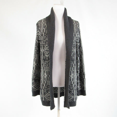 Gray tribal TALBOTS shimmery open front cardigan sweater PM