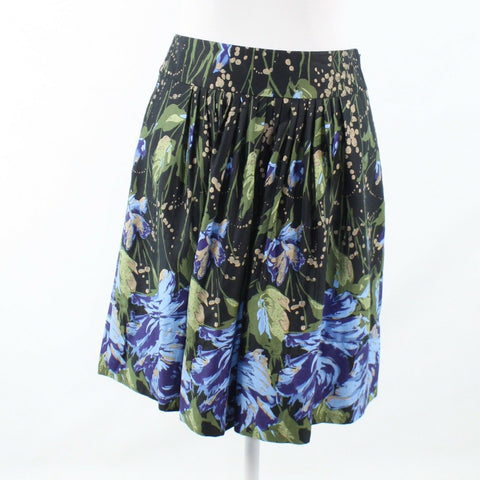 Dark green blue floral print ANN TAYLOR LOFT pleated skirt 2P NWT $69.00