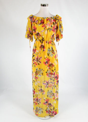 Mustard yellow gray floral print FRENCH CONNECTION 1/2 sleeve maxi dress 2