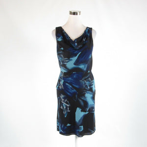 Black blue abstract silk blend ANN TAYLOR sleeveless sheath dress 2