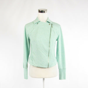 Turquoise blue cotton H BY HALSTON double breasted long sleeve jacket 6