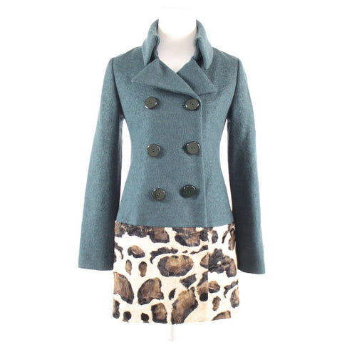 Dark teal green BETH BOWLEY coat sz S double breasted cheetah faux fur trim