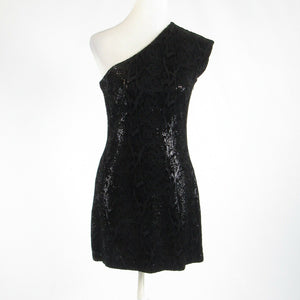Black gray snake HALSTON HERITAGE sequin sleeveless sheath dress 8-Newish