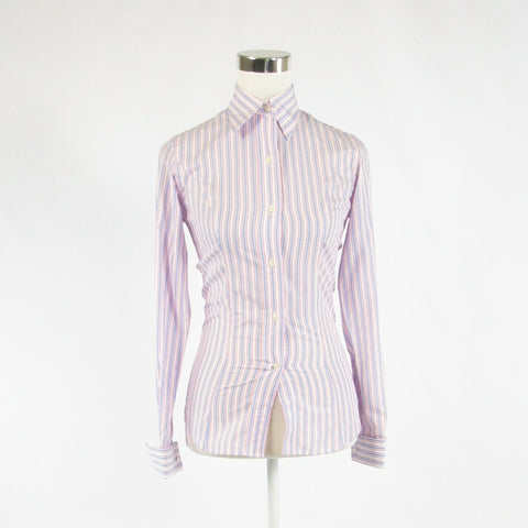 Light blue pink striped 100% cotton AUSTEN BROTHERS button down blouse 6-Newish