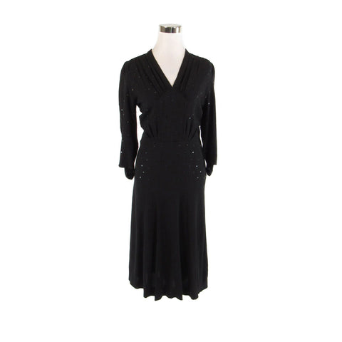 Black 3/4 sleeve scattered sequin vintage A-line dress S-Newish