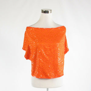 Orange 100% silk CATHY HARDWICK sequin short sleeve blouse S