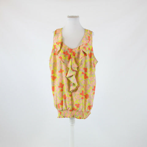 Beige pink bright yellow floral print LANE BRYANT ruffled trim tank top 26
