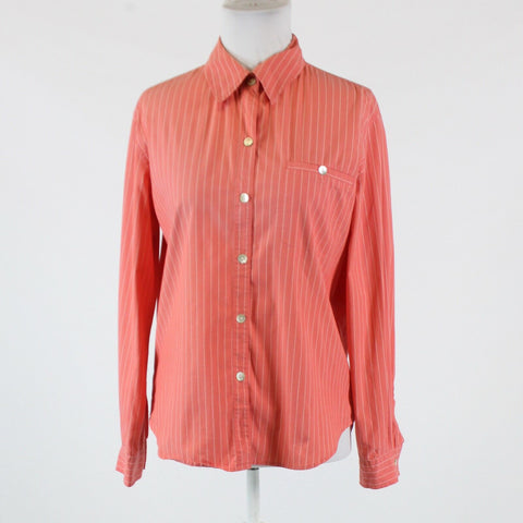 Salmon pink white pinstripe stretch cotton blend CHICO'S button down blouse 1 S